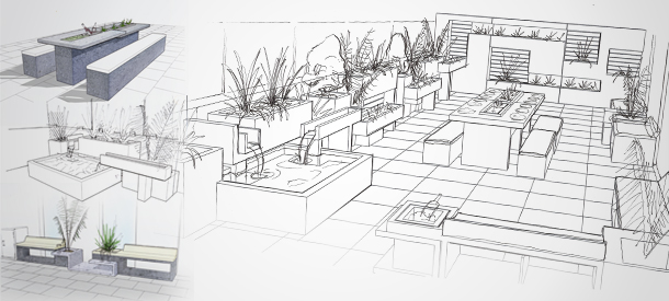 With Rooftop Garden Design Its Important To Visualize Finished Components In Their Surrounding Environment Hand Drawn 3D Concept Sketches Are A Quick And